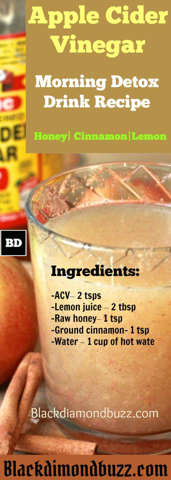 Apple Cider Vinegar Detox Drink Recipe Honey Cinnamon And Lemon For Fat